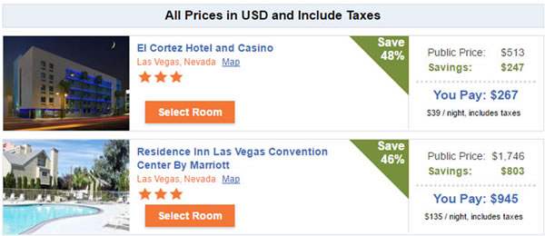 Discounted Hotels in Las Vegas